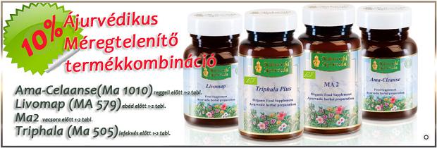 Detox méregtelenítő tabletta (Ama Cleanse, MA 1010), 30 g – reggeli előtt 1-2 tbl. Májvédő tabletta I. (Livomap - MA 579), 30 G – ebéd előtt 1-2 tbl. Életerő Rasayana, (Rasayana for Vitality, MA 2) 50 g – vacsora előtt 1-2 tbl. Triphala - gyümölcsöket tartalmazó ájurvédikus étrendkiegészítő tabletta MA 505 – lefekvés előtt 1-2 tbl.